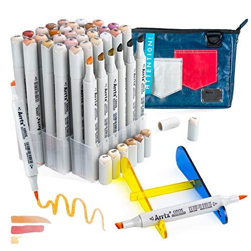 Arrtx OROS Rotuladores de alcohol 36 Colores de Piel, Marcadores permanente profesional pincel y cincel marker con bolsa portátil, para Anime, manga, retrato, ilustración, dibujo, colorear, Lettering