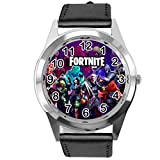 Taport - Reloj de piel para fanáticos de Fortnite, color negro