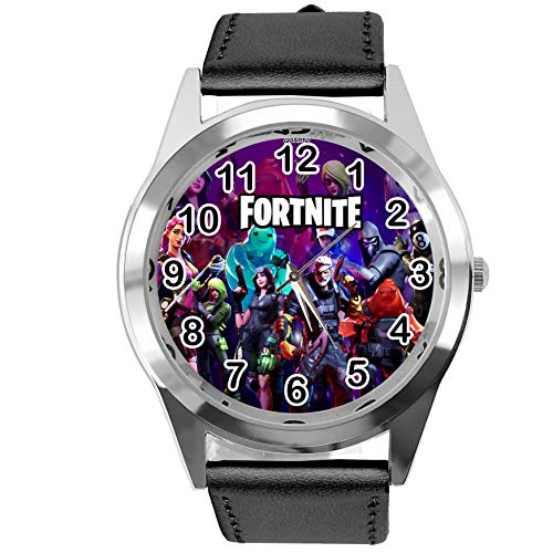 Taport® Armbanduhr für FORTNITE Fans aus Leder, Schwarz