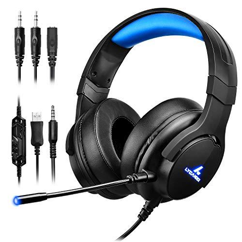 LYCANDER Auriculares de diadema con luz LED y micrófono, cascos con cable, entrada de 3.5mm (para PC, PS4, Xbox One, Nintendo Switch y más), Intermedio - Negro Azul