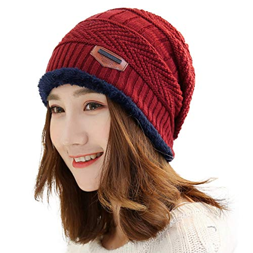 Muryobao Thick Warm Winter Beanie Hat Slouchy Skully Knit Hats Soft Stretch Ribbed Cap for Women Snow Ski Red