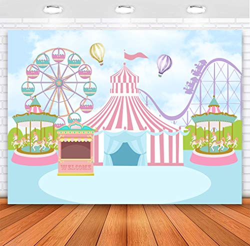 Sensfun Pink Circus Tent Birthday Backdrop Pastel Blue Carnival Carousel Photography Background Hot Air Balloon Princess Girl Newborn Baby Shower Decorations Photo Booth Banner 7x5ft
