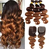 ELEE'S HAIR Ombre Body Wave Bundlles with Closure Ombre Brazilian Virgin Hair Bundles with Closure Remy Human Hair Bundles with Closure Brown Virgin Hair T4/30 (22 20 18+16)