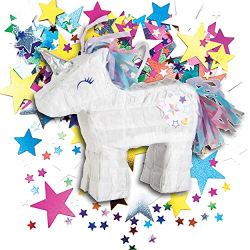 PartyMarty Pinata Einhorn Mini+ Konfetti in METALLIC BUNT Sterne, Kindergeburtstag, Geldgeschenk, Schmuck-Verpackung, Überraschung