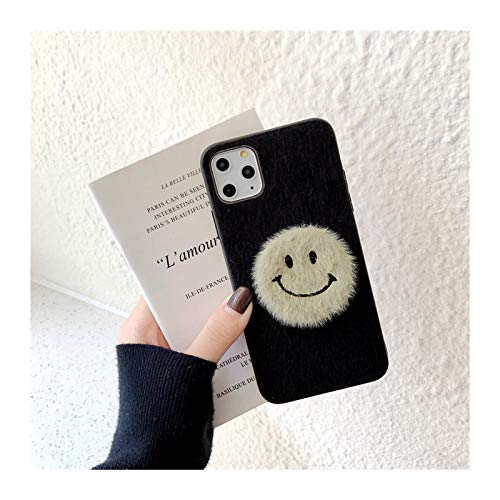 para iPhone 6 7 8 Plus 11 PROMAX Mobile TELÉFONO COMPAJO Femenino XSMAXR Simple SONRENSO Cara Mink PELUMINACIÓN Personalidad Creativa (Color : Black, Material : For iphone8)