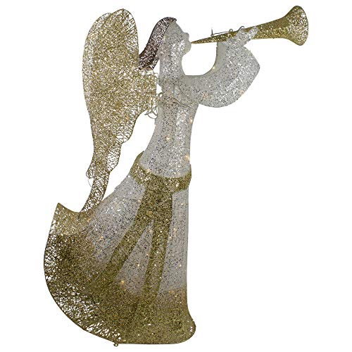 Northlight 44' Cotton Thread LED Lighted Gold and Silver Glitter Angel Outdoor Christmas Decoration