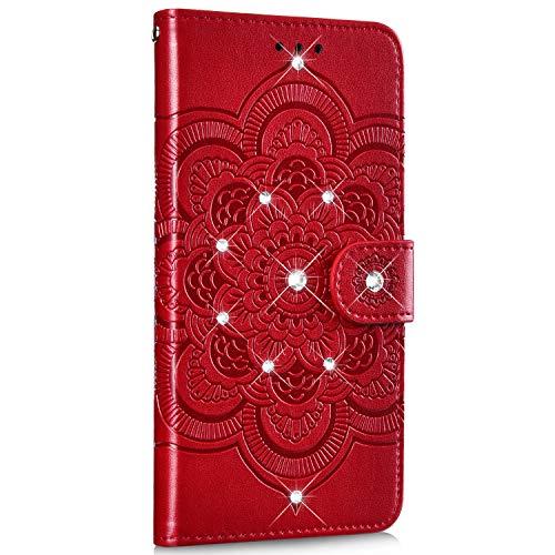 Saceebe compatibile con Nokia 5.1 plus Custodia pelle,Cover a libro PU Flip Case Pelle Portafoglio Wallet Case Custodia in pelle con mandala in rilievo con cordino Antigraffio,rosso