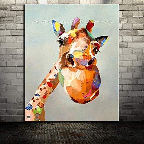Muwan-YH Neue Rahmenlose Bild Hand Gemalt Schöne Giraffe Tier Ölgemälde Auf Leinwand Wand Kunst Bilder Für Wohnzimmer Wohnkultur