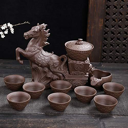 Tavolo da tè Imposta Teiera, Tea Set A Mano Cinese, Teiera della Porcellana, Insieme di tè Rotazione Acqua Mulino in Pietra del tè Automatico Impostato Pigro Antiscottatura Kung Fu Tea Set