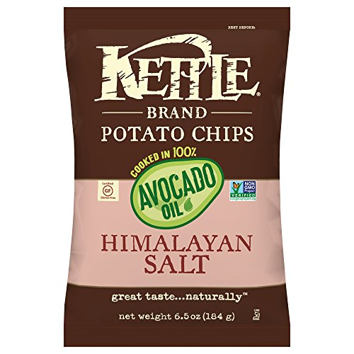 Kettle Brand Potato Chips, 100% Avocado Oil Himalayan Salt, 6.5 Ounce (Pack of 12)