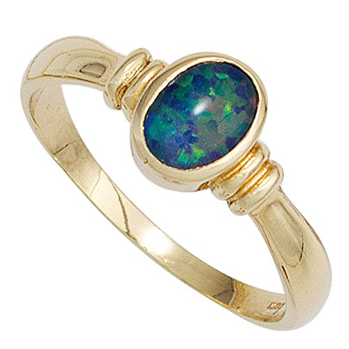 JOBO Damen-Ring aus 585 Gold mit Opal-Triplette Größe 50