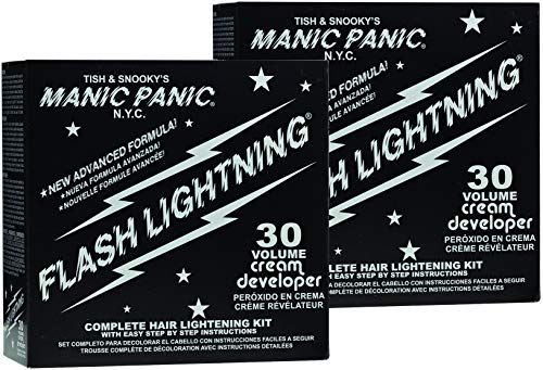 Manic Panic Flash Lightning Hair Bleach Kit (2-Pack) 30 Volume Cream Developer, Hair Lightener Kit for Light, Medium Or Dark Brown & Black Hair Color, Hair Bleach Powder Lifts Up To 5 Levels