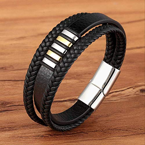WFQ Bracelet New 3 Layers Black Gold Punk Style Design Genuine Bracele