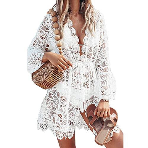 DURINM Vestido de Playa Mujer Pareos y Camisola de Playa Vestido de Playa Corto Halter Estampado de Flores Bohemia Casual (XL)