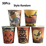 LQH Los Platos de Cocina 30Pcs Tazas de Papel de Halloween de Papel Desechables Halloween Party Supplies Decoración Creativa del Eco Friendly vajilla del Partido