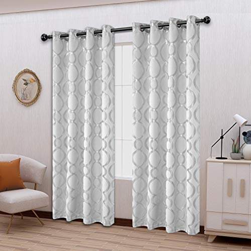 LORDTEX Geometric Foil Print Blackout Curtains for Bedroom and Living Room - Sun Light Blocking, Thermal Insulating Curtain Panels, Grommet Top Window Drapes, Set of 2, Greyish White, 52 x 84 Inches