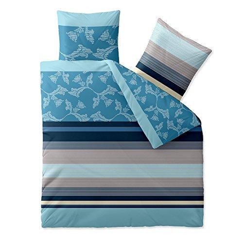 aqua-textil Trend Bettwäsche 200x220 cm 3tlg. Baumwolle Bettbezug Isabis Streifen Blumen Blau Türkis Beige