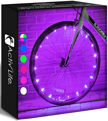 Activ Life Bike Lights Avant et arrière (2 pneus, Violet) Top Cadeaux de Naissance pour Femmes et Cadeaux de Noël 2020 pour Filles. Meilleurs Cadeaux Uniques pour la Saint-Valentin pour Maman Soeur