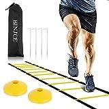 BINJCE - Scaletta sportiva per allenamento di coordinazione, 6 m, con picchetti, borsa per il trasporto e 15 anelli a D, attrezzatura da calcio