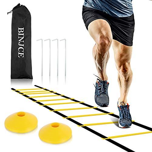 BINJCE - Scaletta sportiva per allenamento di coordinazione, 6 m, con picchetti, borsa per il...