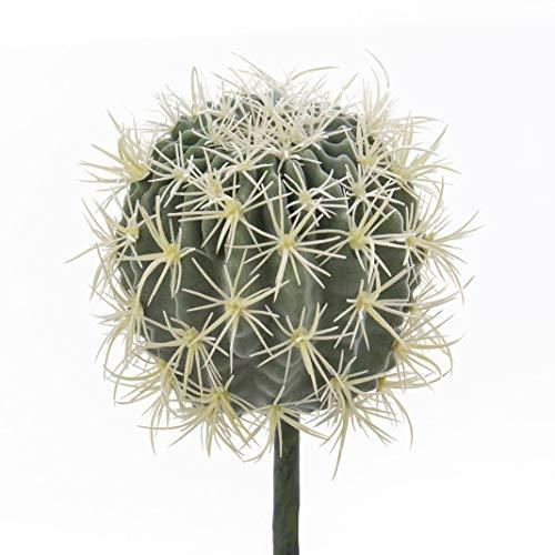 artplants.de Cactus Asiento de Suegra, Verde-Amarillo, Ø 18cm - Cactus Artificial - Planta Decorativa