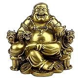 Feng Shui hecho a mano estatua de Buda sentado en silla del Emperador Que Ríe Maitreya Escultura...