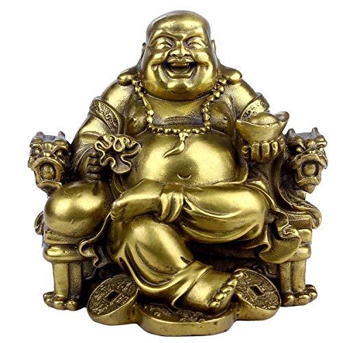 Brass statu Feng Shui Handmade Statue von Buddha Maitreya Lachen auf Stuhl, Kaiser-Deko-Skulptur für Indoor Outdoor Dekoration