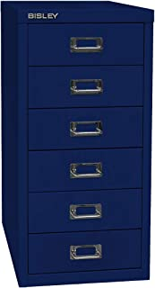 BISLEY - Armoire à tiroirs Basis L278xP380xH590mm 6 tiroirs A4 H87mm Bleu