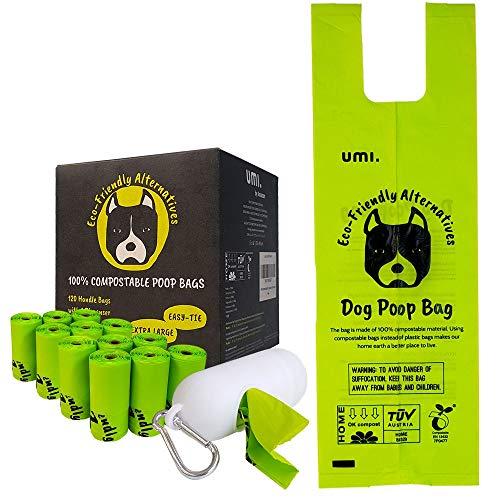 Amazon Brand - Umi Bolsas para Excrementos de Perro Biodegradables - Origen Vegetal, Compostaje Casero, Sin Microplásticos, Sin Perfumes y Resistentes a Fugas - 13 x 40 cm, 120 con Porta Bolsas