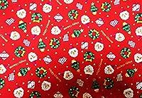 クリスマス プリント生地 (30cm単位販売) 【柄:サンタ&プレゼント】 ランチョンマットやクッションカバー、ポーチなどの小物作りに!!クリスマスの演出に のとってもかわいいプリント生地