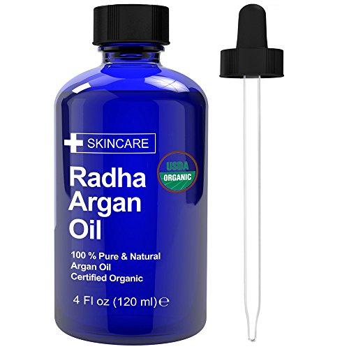 Radha Beauty Rizinus kaltgepresstes Trägeröl mit Pipette und Wimpern, Augenbrauenbürste, Haarserum, Wimpern, Augenbrauenwachstum Arganöl 4 Ounce
