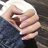 Handcess French Faux Ongles Acrylique Ovale Rose et Blanc Appuyez sur l'ongle Faux Ongles Couverture Complète pour Femmes