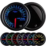 GlowShift Tinted 7 Color Narrowband Air/Fuel Ratio AFR Gauge - Lean, Optimal & Rich Readings - Black Dial - Smoked Lens - 2-1/16' 52mm