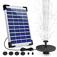 AISITIN 5.5W Solar Fountain Pump, Solar Water Pump Floating Fountain Built-in 1500mAh Battery, with 6 Nozzles, for Bird Bath, Fish Tank, Pond or Garden Decoration Solar Aerator Pump