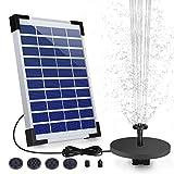 AISITIN Fuente Solar 5,5W Bomba de Fuente Solar Batería Integrada con 6 Boquillas para Baño de Pájaros Estanque Jardín Ciclo del Agua
