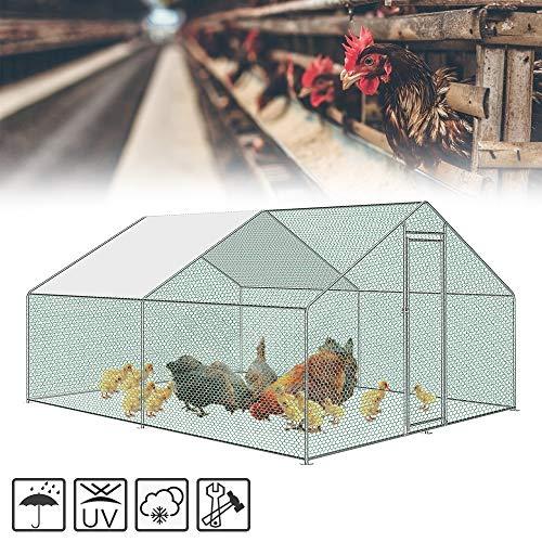 HENGMEI Hühnerstall Hühnerkäfig Hühnerhaus 3x4x2m Geflügestall mit PE Dach Für Geflügel, Kaninchen, Hasen, Hühner