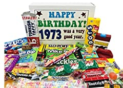 Contains an assortment of 30 different kinds of nostalgic candy for a fabulous 47th birthday present 1973 birthday gift box will bring back great childhood memories Makes a fun and unique gift for any candy lover Great for someone who has everything ...