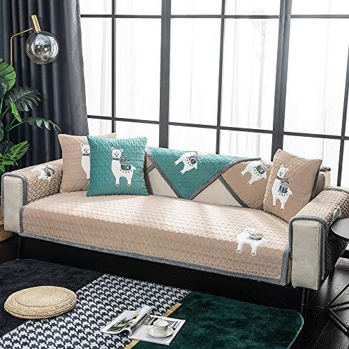 Suuki Fundas sofá,Cubierta De Muebles,Funda Gruesa de Terciopelo para sofá de 2/3/4 plazas,Funda cálida para sofá para la habitación de los niños,Bonito Protector Antideslizante para Mantas de sofá-C