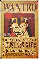 海賊アニメEUSTASS KIDユースタス・キッド さびた錫のサインヴィンテージアルミニウムプラークアートポスター装飾面白い鉄の絵の個性安全標識警告バースクールカフェガレージの寝室に適しています