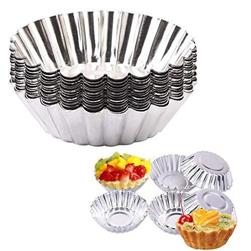 Set di 10 stampi per torta, diametro 70 mm, per tortine per uova, utensili argento