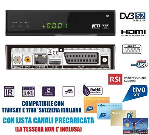Decoder Satellitare Full HD Compatibile Con Tivusat e Tv Svizzera Italiana S2 DVB-S2 HEVC H265 MAIN 10