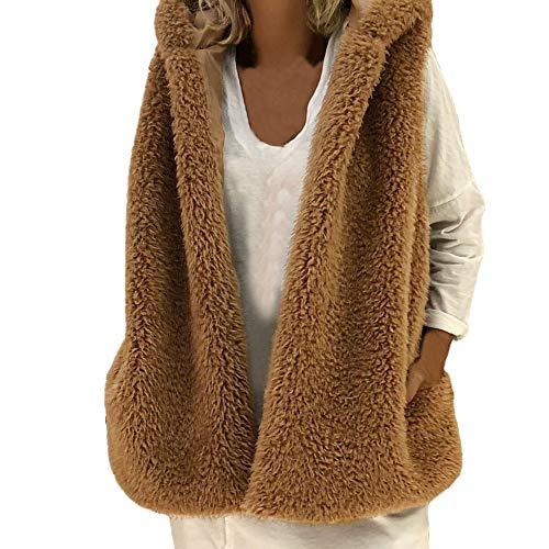 MYMYG Kapuzen Women's Ladies Winter Pocket Sleeveless Fleece Hoodie Coat (KaffeeEU:40/CN-XL)
