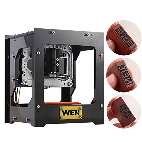 ウンカン DK-8-KZ レーザー彫刻機 1000mW 印鑑制作可能 ミニ卓上型 ボタン付 USB対応 16x14.5x19cm ブラック