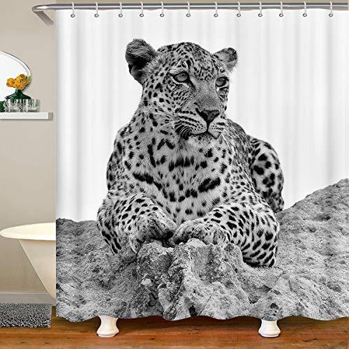Leopard Wasserdichtes Duschvorhang Textil Wild Leopard Stoff Duschvorhang 180x200 für Kinder Jungen Jugend Mann Weiß Safari Wilde Tier Dekor 3D Tier