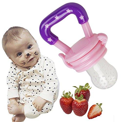 Fruchtsauger Schnuller für Obst und Gemüse in verschiedenen Farben mit GRATIS GESCHENKTASCHE für Babys (Pink) - 4