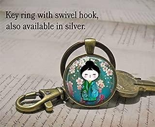 Plum Blossom Kokeshi pendant, Kokeshi necklace, Japanese jewelry, Kokeshi doll charm, Kokeshi keychain key chain key ring key fob