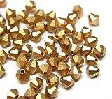 Preciosa - Cuentas de cristal de Bohemia de 4 mm, 40 unidades, doble cono checa, perlas de cristal pulidas, bicone, color dorado metálico