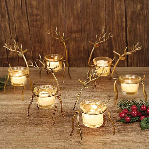 GUOOU 6 Pack Metal Reindeer Tea Light Candle Holders, Glass Votive Candle Holders, Christmas Metal Candle Holder, Christmas Table Decorations for Home