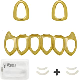 LuReen 14k Gold Silver Open Face Outline Grills 2pcs Single Teeth Top and 6 Bottom Set Grills+ Extra 2 Molding Bars