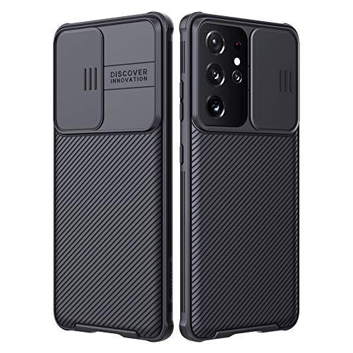 Nillkin kompatibel mit Samsung Galaxy S21 Ultra Handyhüllen, s21 Ultra 5g hülle Schutzabdeckung für Kameraobjektive Bumper für S21 Ultra Rutsche fähig kameraschutz hülle 6.8'' (Black)